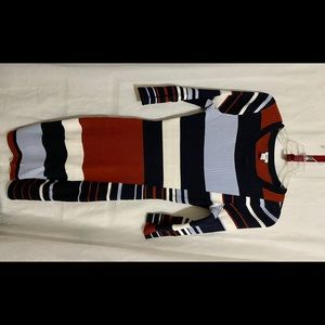 BAR III Multicolored Ribbed Knit Sweater Dress
